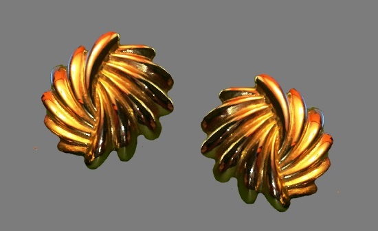 Double shell gold tone clip on earrings