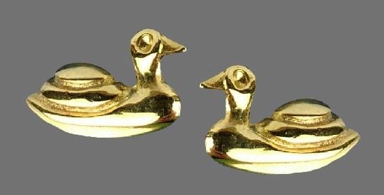 Duck gold tone earrings