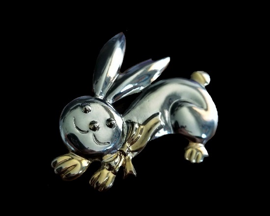 Easter bunny vintage brooch pendant of gold and silver tone