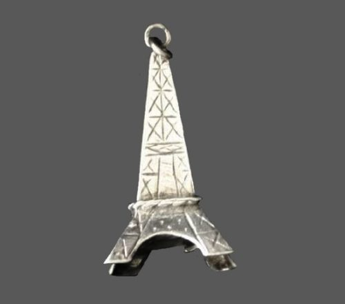 Eiffel Tower Charm. Silver tone textured metal
