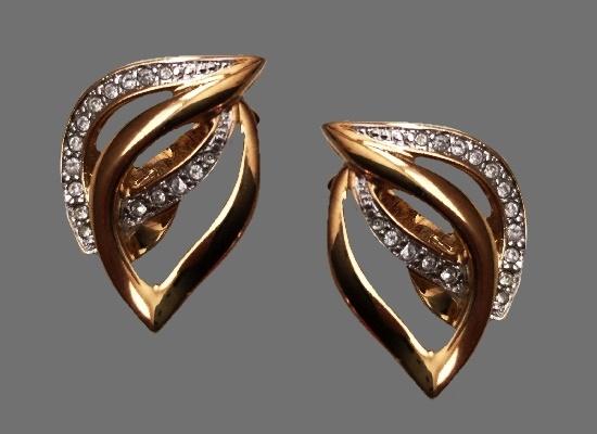 Entwining Leaf earrings. Gold plated, rhinestones