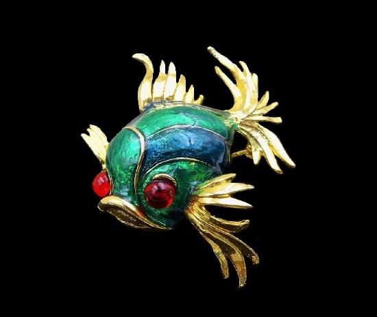 Exotic fish brooch. Gold tone metal, enamel, art glass
