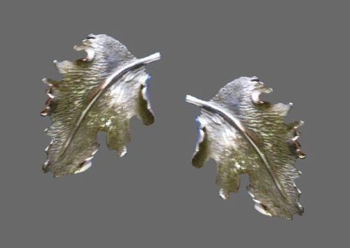 Fallen leaf silver tone earrings
