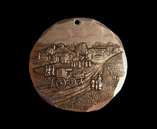 Farm scene pewter collectible pendant