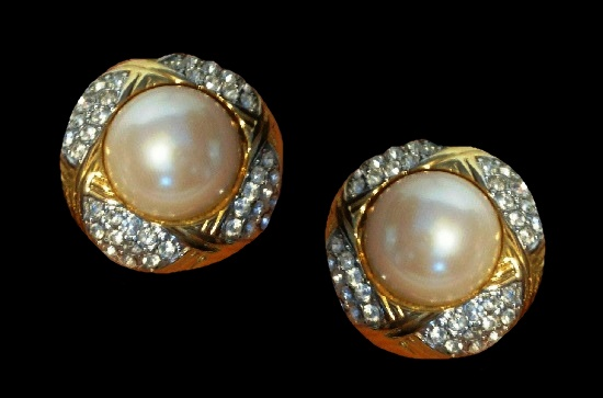 Faux Pearl gold tone clear rhinestone clip on earrings