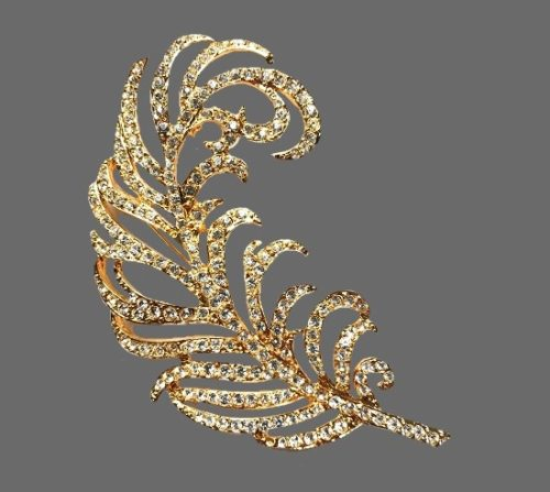 Peacock Feather brooch. Gold plated, rhinestones