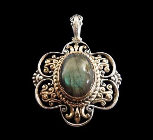 Filigree sterling silver Labradorite cabochon pendant