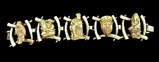 Figural Gods of Fortune Immortals bracelet. Gold tone metal alloy, enamel