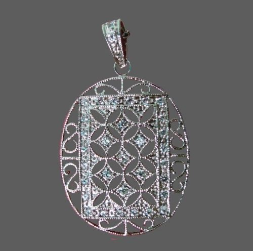 Filigree design sterling silver crystal pendant