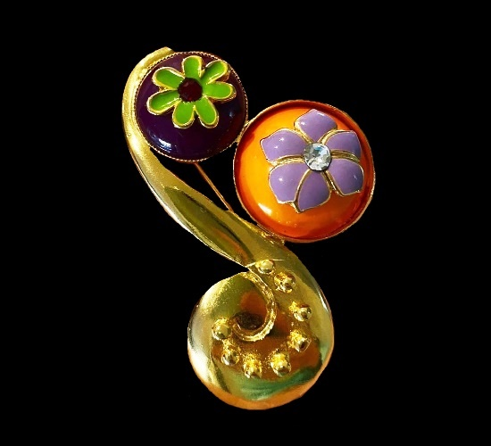 Floral design brooch. Metal alloy, gold plated, enamel, rhinestones. 1990s