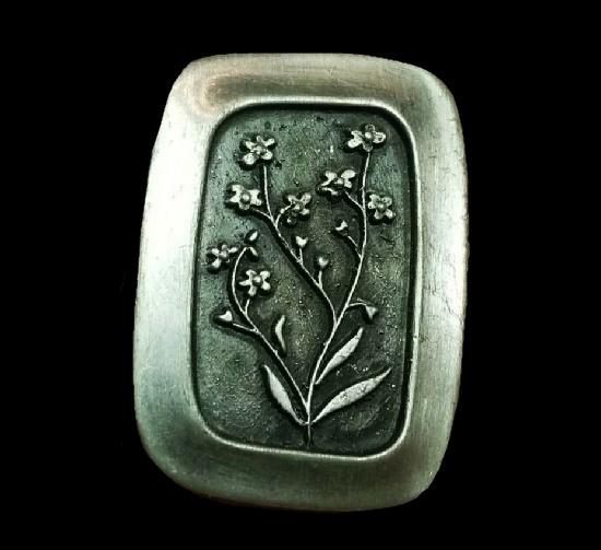 Floral design brooch. Pewter. 1950s
