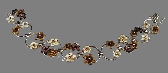 Floral design sterling silver enamel bracelet