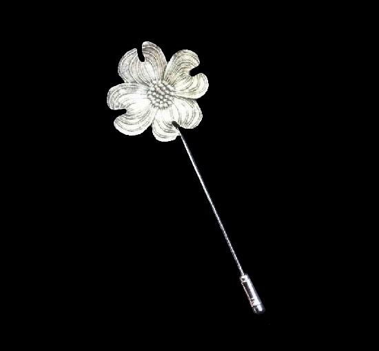Flower vintage stick pin. Aluminium