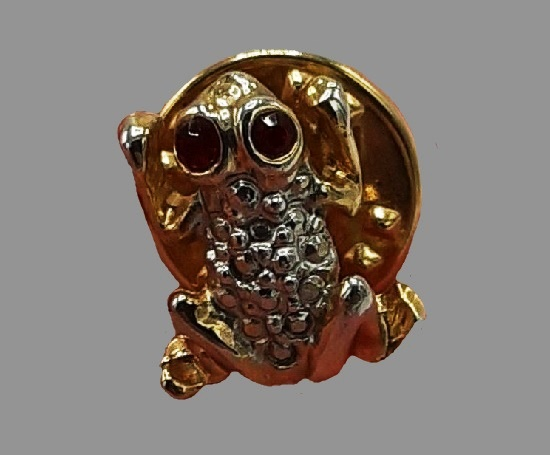 Frog pin. Gold and silver tone metal alloy, rhinestone