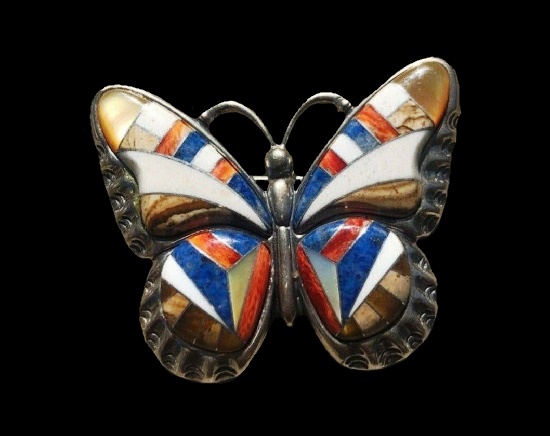 Gemstone inlay butterfly brooch. Sterling silver, lapis, tigers eye, spiny oyster, white agate, mother of pearl, jasper