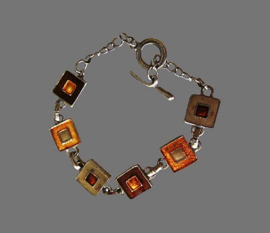 Geometrical square link design bracelet. Copper and silver tone metal, enamel. 1980s