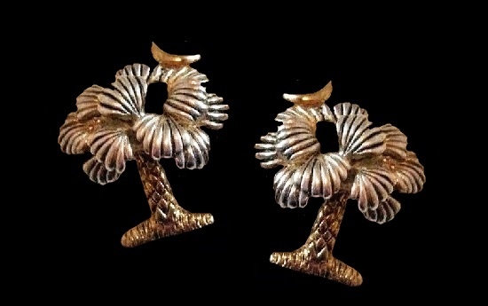 Gold and silver tone Palm tree moon pierced earrings