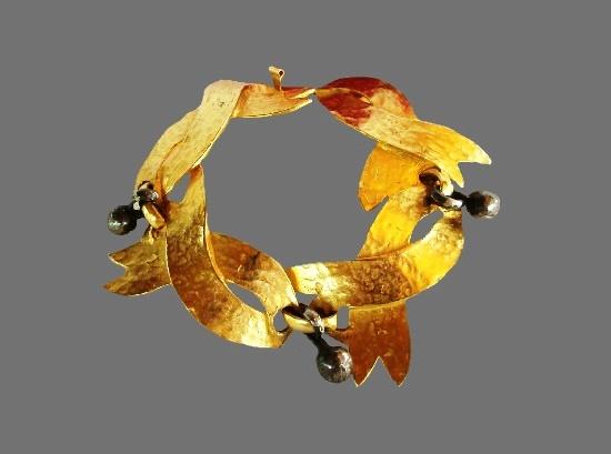 Gold plated metal alloy wrist bracelet