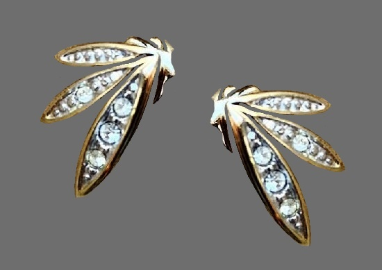Gold tone blue rhinestones earrings. 1980s