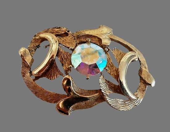 Gold tone metal alloy Aurora Borealis rhinestone brooch