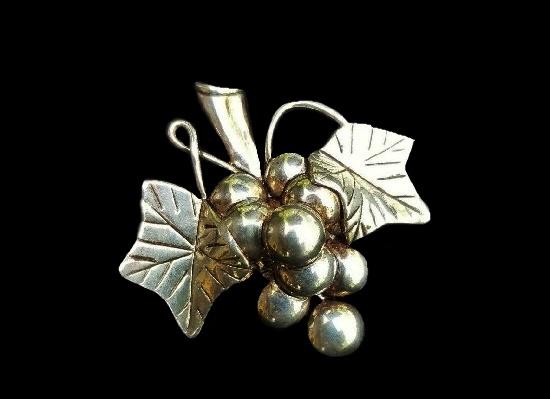 Grape Cluster leaf brooch pendant of silver tone