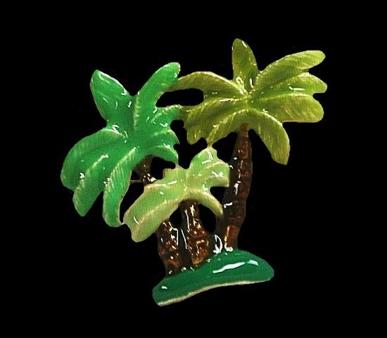 Green enamel palm trees brooch pendant