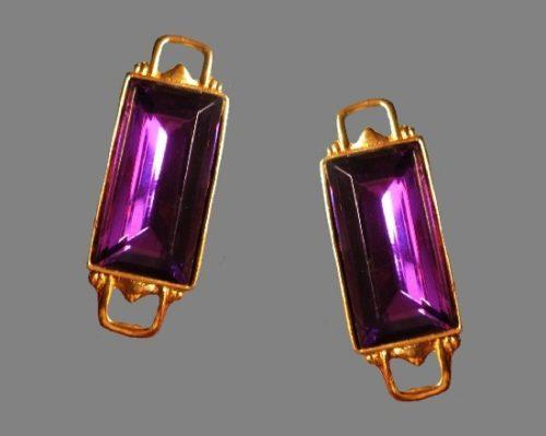 Gripoix amethyst glass gold tone clip on earrings