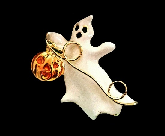 Halloween ghost with pumpkin brooch. Gold tone, enamel