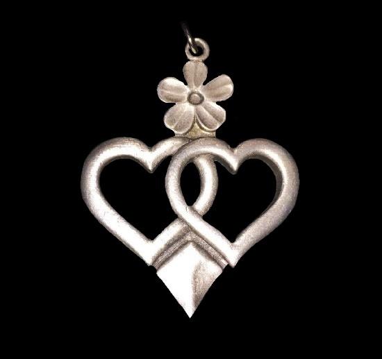 Geometric design pendant. Pewter, green glass cabochon