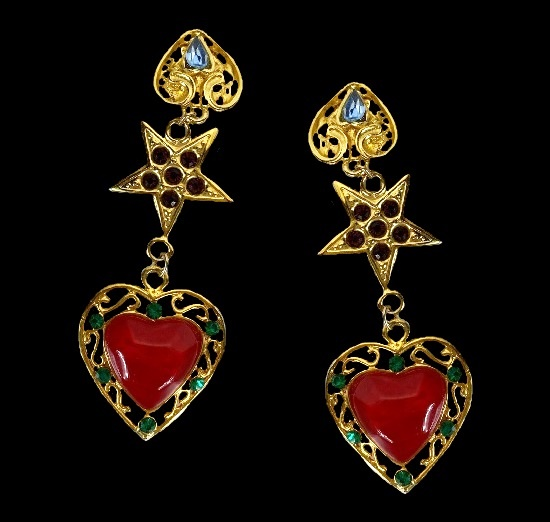 Heart star dangle clip on earrings. Gold plated, art glass, crystals