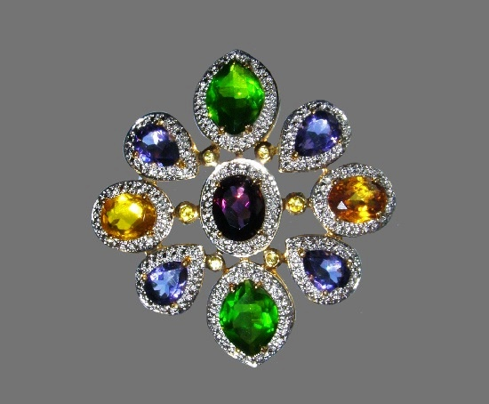 Multicolor stone floral design brooch. 925 sterling silver, gold plated, zirconium. 5 cm. 1990s