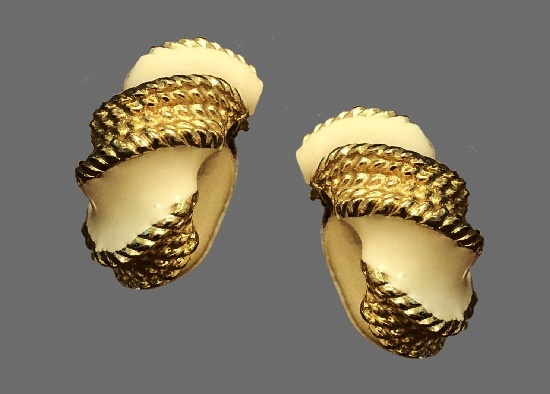 Ivory and gold tone clip on earrings