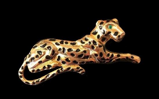 Jaguar vintage brooch. Black enamel, crystal, gold tone
