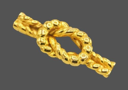 Knot gold tone brooch