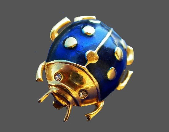 Ladybug brooch. Gold tone metal, enamel, Swarovski crystals
