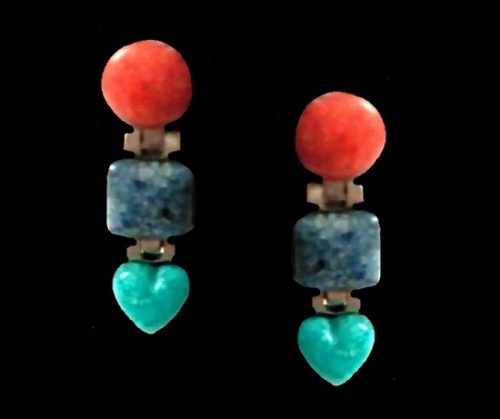 Lapis Turquoise Coral vintage Dangling Earrings