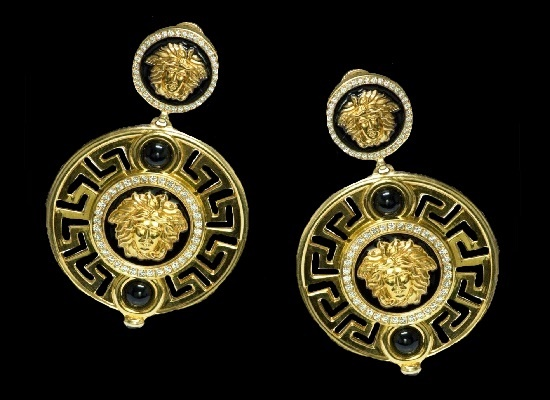 Large Medusa dangle earrings. Diamond, 18K gold, enamel