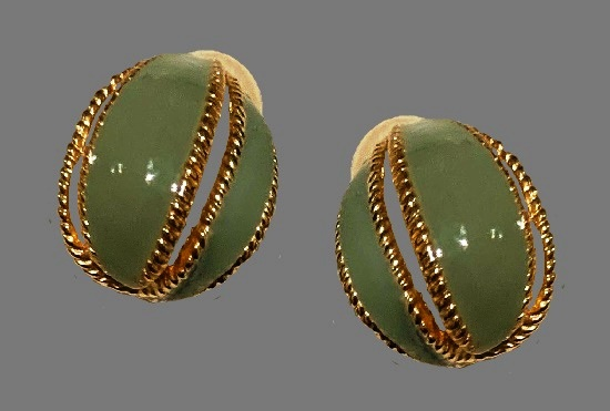 Light teal Green enamel round shaped earrings