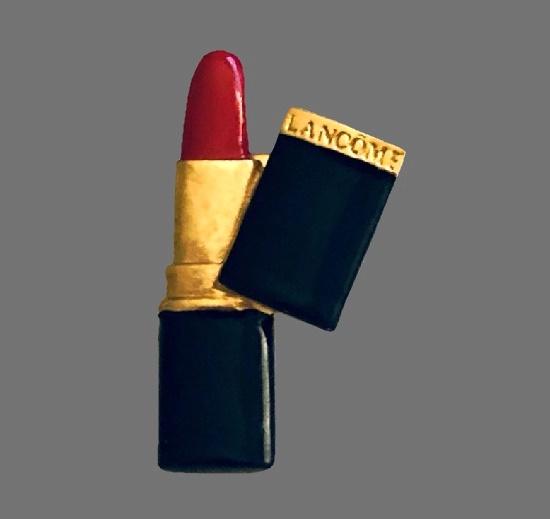 Lipstick brooch pin. Gold tone metal, enamel. 1980s