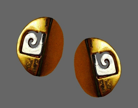 Logo design gold and silver tone pierced earrings