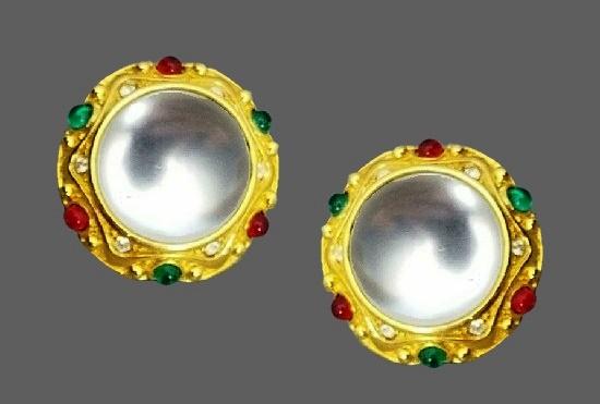 Luminescent caboch art glass gold tone earrings