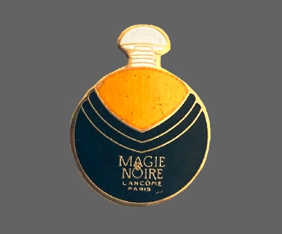 Magie Noire perfume bottle lapel pin. Gold tone metal, enamel. 1990s