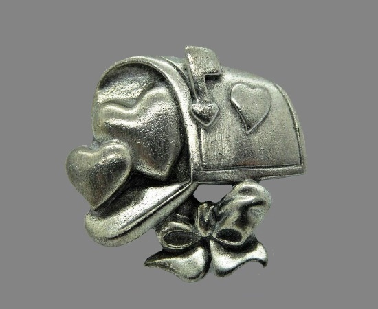 Mailbox heart and bow silver tone pin brooch