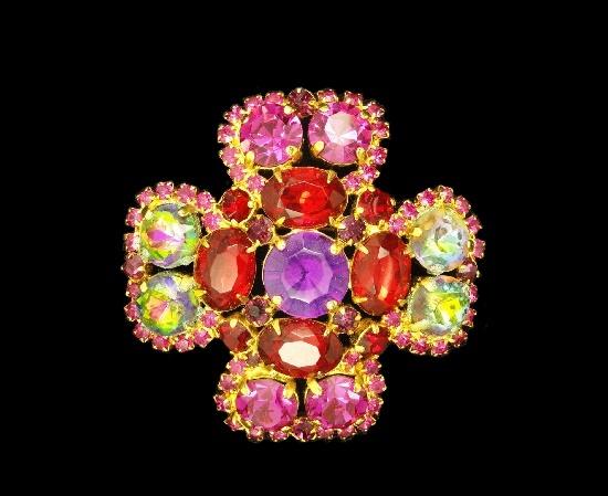 Maltese cross brooch. Gold tone metal alloy, multicolor rhinestones. 1970s