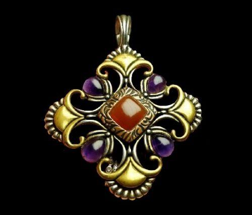 Maltese cross pendant. Sterling silver, copper, brass, purple stones, carnelian center