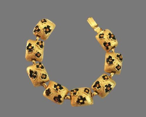 Matte gold enamel rhinestone floral print bracelet