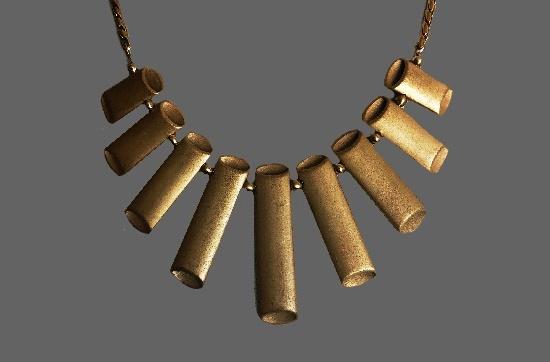 Matte gold tone tube necklace