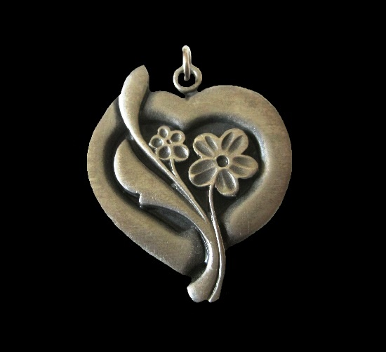 Mid century heart and flower pewter pendant