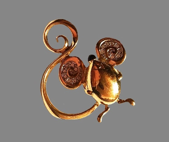 Mouse brooch. Gold tone, rhinestones