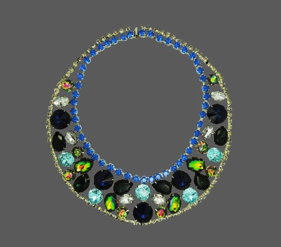 Multicolor crystals gold plated 1960s necklace